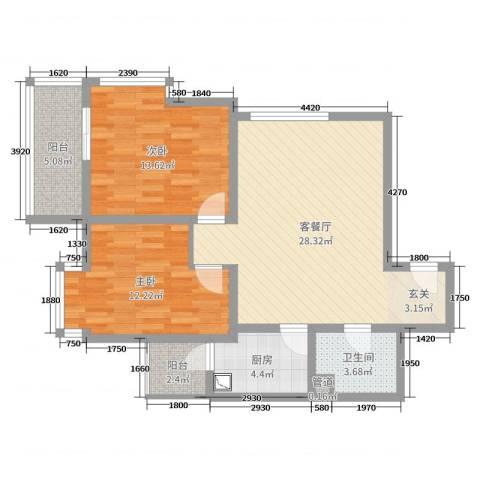 双威理想城二期2室2厅1卫1厨84.00㎡户型图