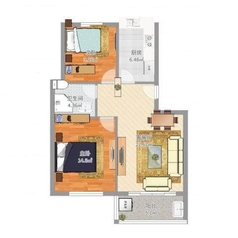 汇嘉新园2室2厅1卫1厨62.42㎡户型图