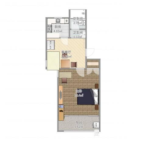 银宏新村1室2厅2卫1厨55.00㎡户型图