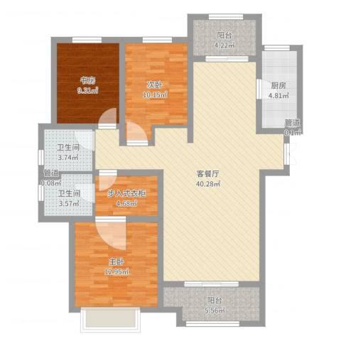 九源・书香园3室2厅2卫1厨124.00㎡户型图