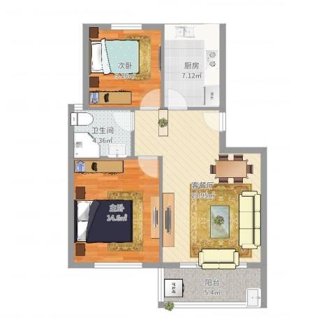 华光城2室2厅1卫1厨81.00㎡户型图