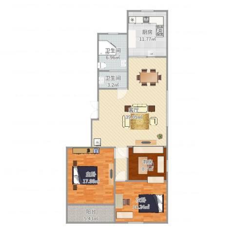 新海枫景3室1厅2卫1厨134.00㎡户型图