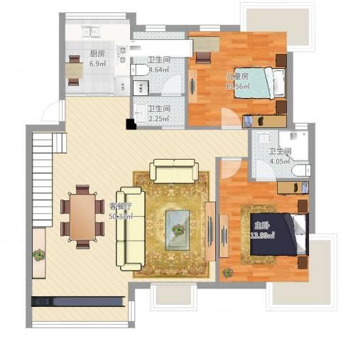 如意金水湾2室2厅3卫1厨120.00㎡户型图