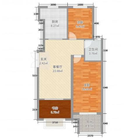 逸城山色3室2厅1卫1厨89.00㎡户型图