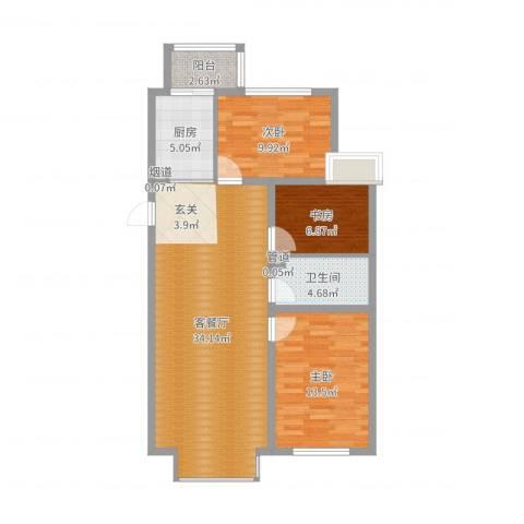 新城雅苑二期3室2厅1卫1厨96.00㎡户型图