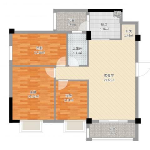 濠东花园3室2厅1卫1厨104.00㎡户型图