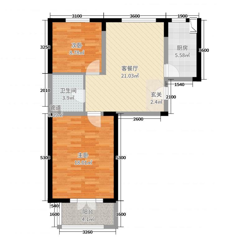 海唐广场90.00㎡户型2室2厅1卫1厨