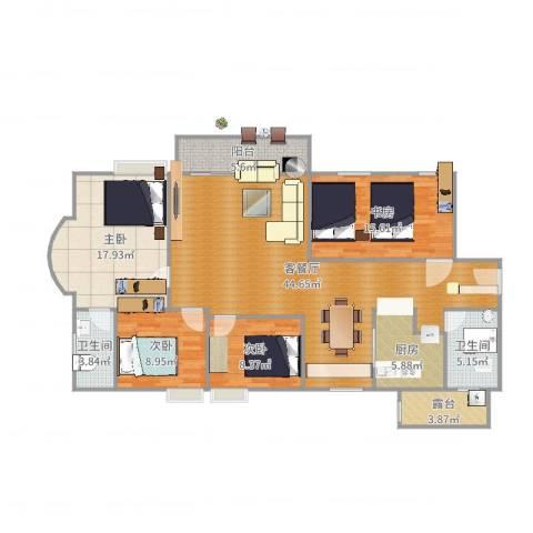 教师新村4室2厅2卫1厨129.00㎡户型图