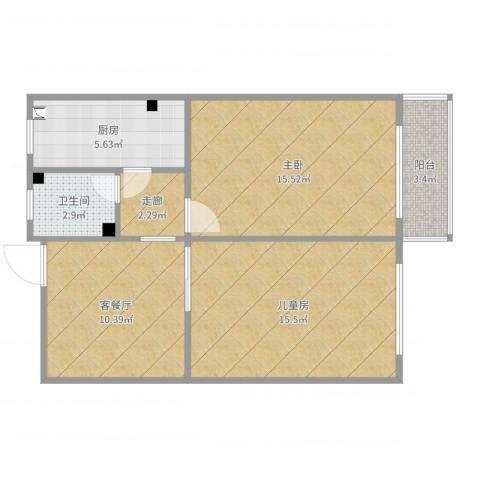 西坝河北里14号楼6062室2厅1卫1厨70.00㎡户型图
