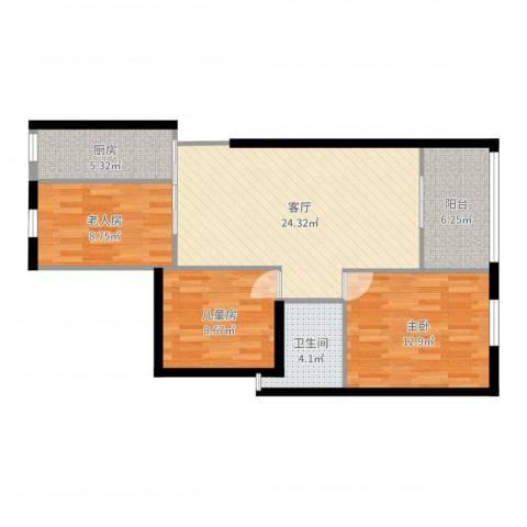 四季金辉3室1厅1卫1厨88.00㎡户型图