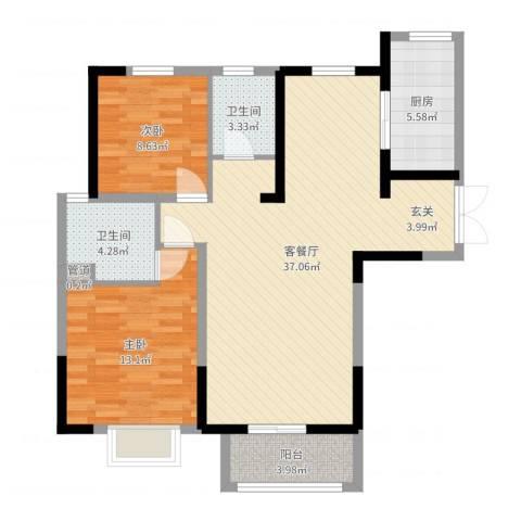 宏润花园2室2厅2卫1厨95.00㎡户型图