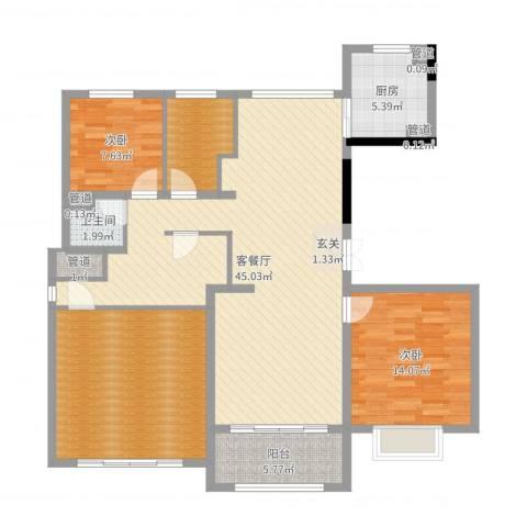 绿洲康城亲水湾雅颂2室2厅1卫1厨133.00㎡户型图