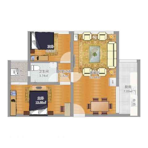 达人联盟2室2厅1卫1厨77.00㎡户型图