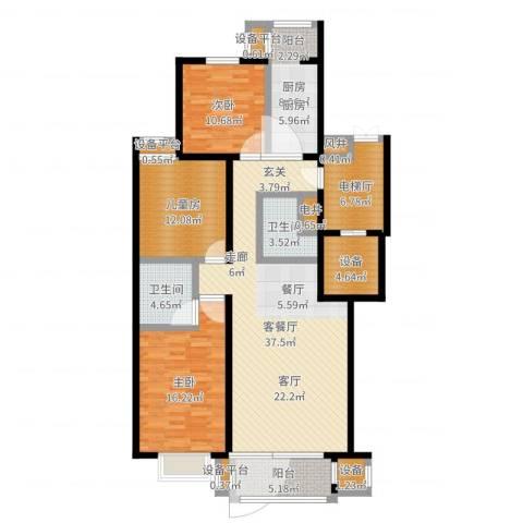 梨花江苑3室2厅2卫1厨142.00㎡户型图