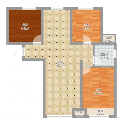 永定河孔雀城英国宫3室1厅2卫1厨90.00㎡户型图