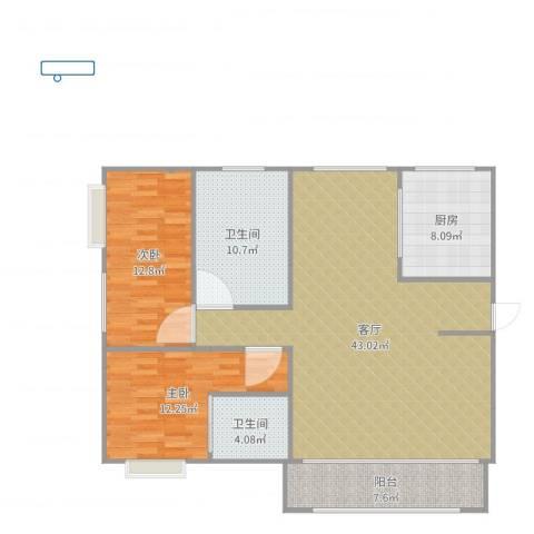 南约(南景新村)100平方设计草图2室1厅2卫1厨123.00㎡户型图
