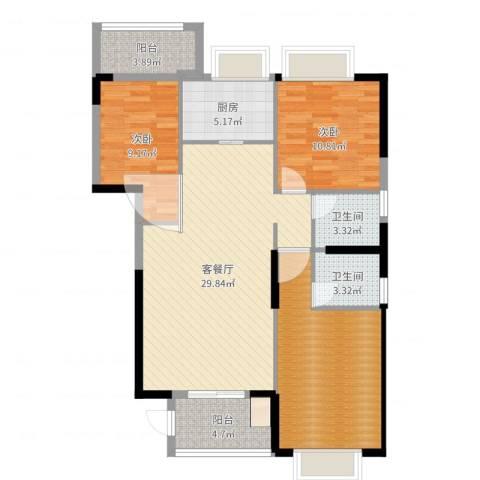 金丰花园2室2厅2卫1厨107.00㎡户型图
