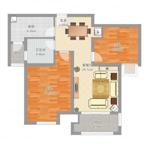 浦江瑞和城2室2厅1卫1厨87.00㎡户型图