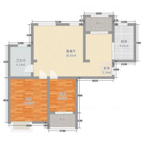 九华学府2室2厅1卫1厨101.00㎡户型图