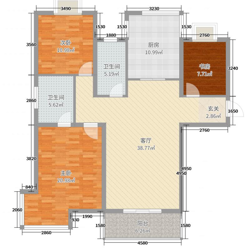 佳・水岸小镇133.20㎡F1阳光丽宅户型3室3厅2卫1厨