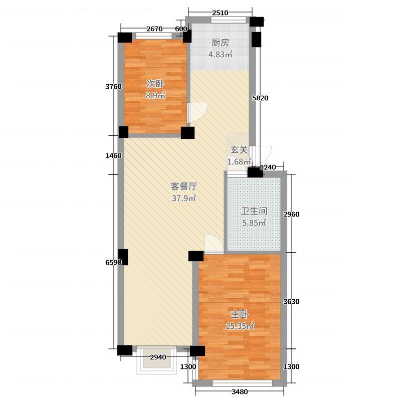 华光名苑85.00㎡B户型3室3厅1卫1厨