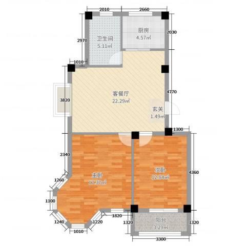逸城山色2室2厅1卫1厨82.00㎡户型图