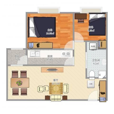 广渠家园2室1厅1卫1厨63.00㎡户型图