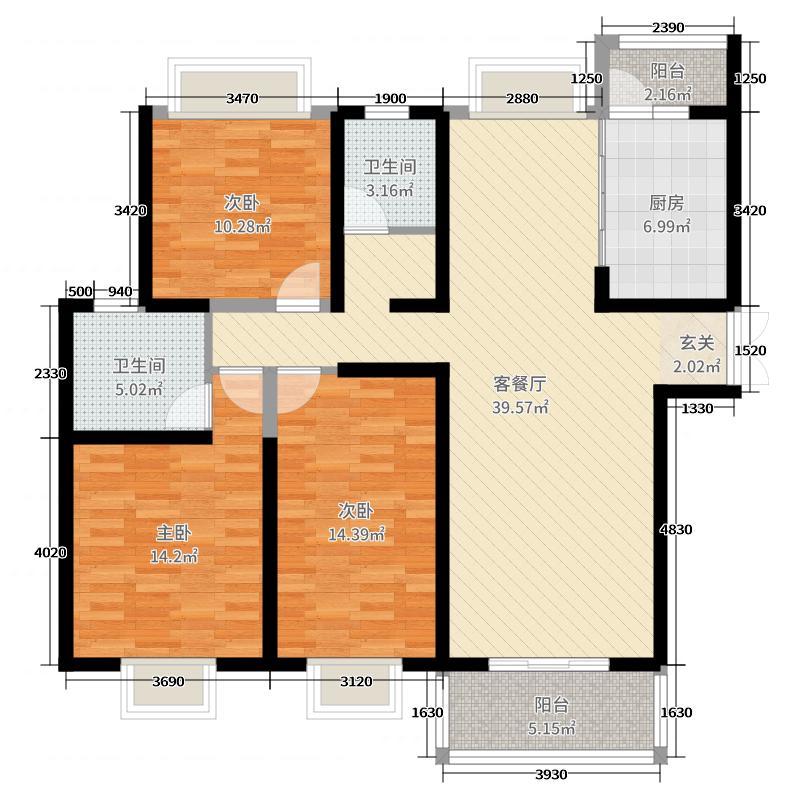 海岸城・郦园126.00㎡J1户型3室3厅2卫1厨