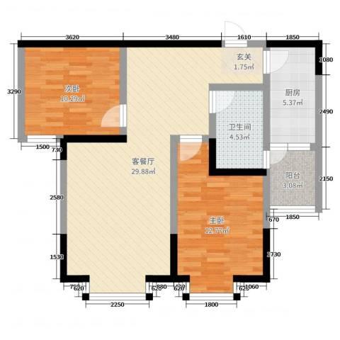 凯信水韵滨江二期公园大帝2室2厅1卫1厨86.00㎡户型图