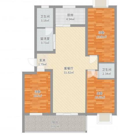 安泰・宏伟・祥和园3室4厅2卫1厨90.44㎡户型图