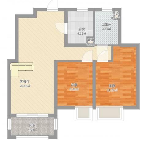 宝华海湾城2室2厅1卫1厨85.00㎡户型图