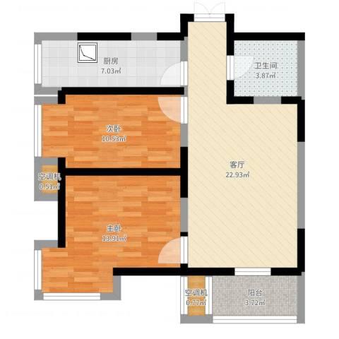 建投观海02户型2室1厅1卫1厨79.00㎡户型图