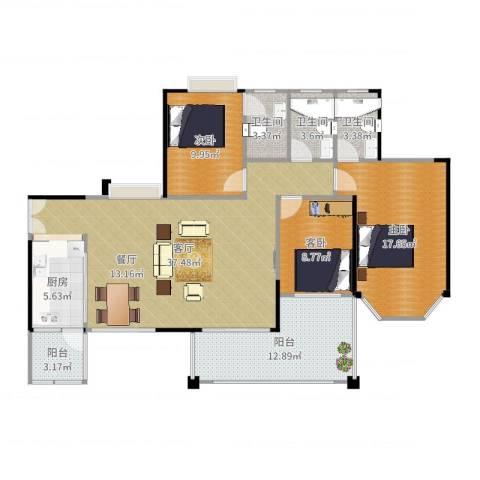 恒利・阳光新城3室1厅3卫1厨132.00㎡户型图