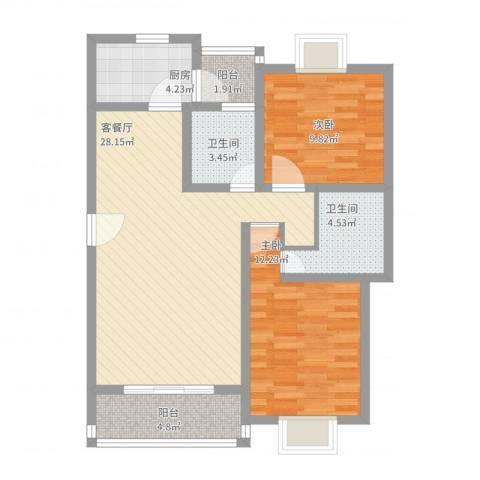 三岛龙州苑2室2厅2卫1厨101.00㎡户型图