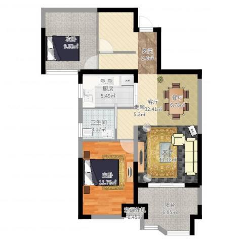 奥克斯盛世华庭2室1厅2卫1厨87.00㎡户型图