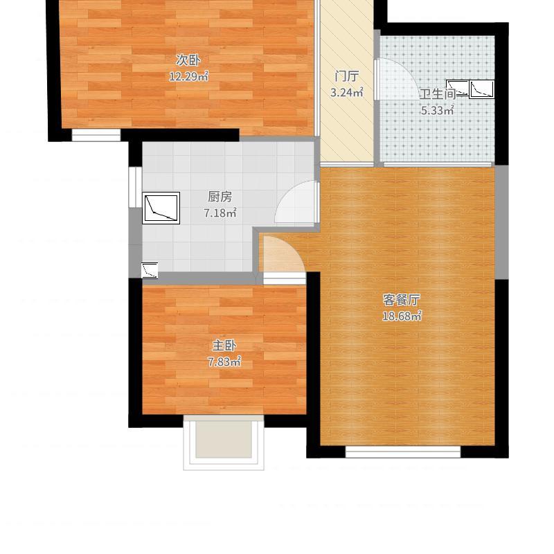 中海国际社区80平方设计方案01