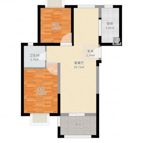 上海裕花园2室2厅1卫1厨82.00㎡户型图