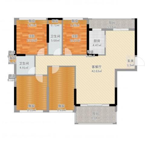 格林春天2室2厅2卫1厨153.00㎡户型图