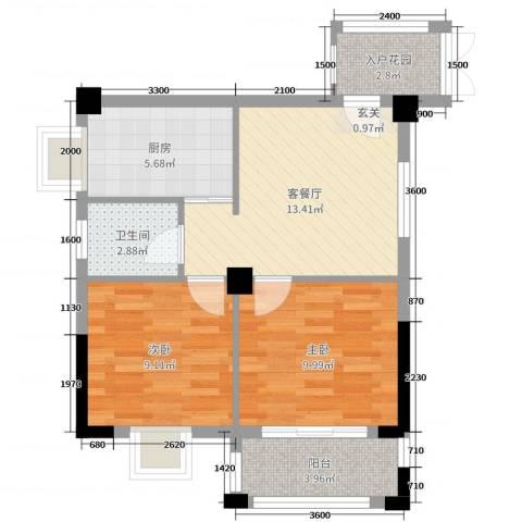 腾龙・钻石广场2室2厅1卫1厨64.00㎡户型图