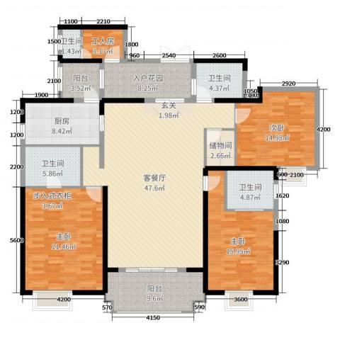 楚天逸品3室2厅4卫1厨190.00㎡户型图