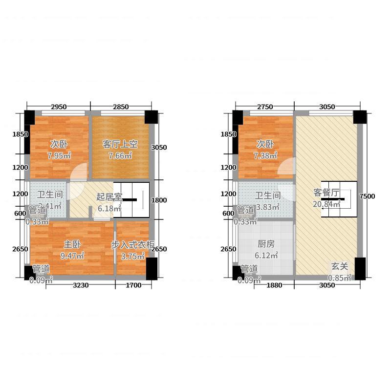 塘厦德洲城60.00㎡公寓J户型3室3厅2卫