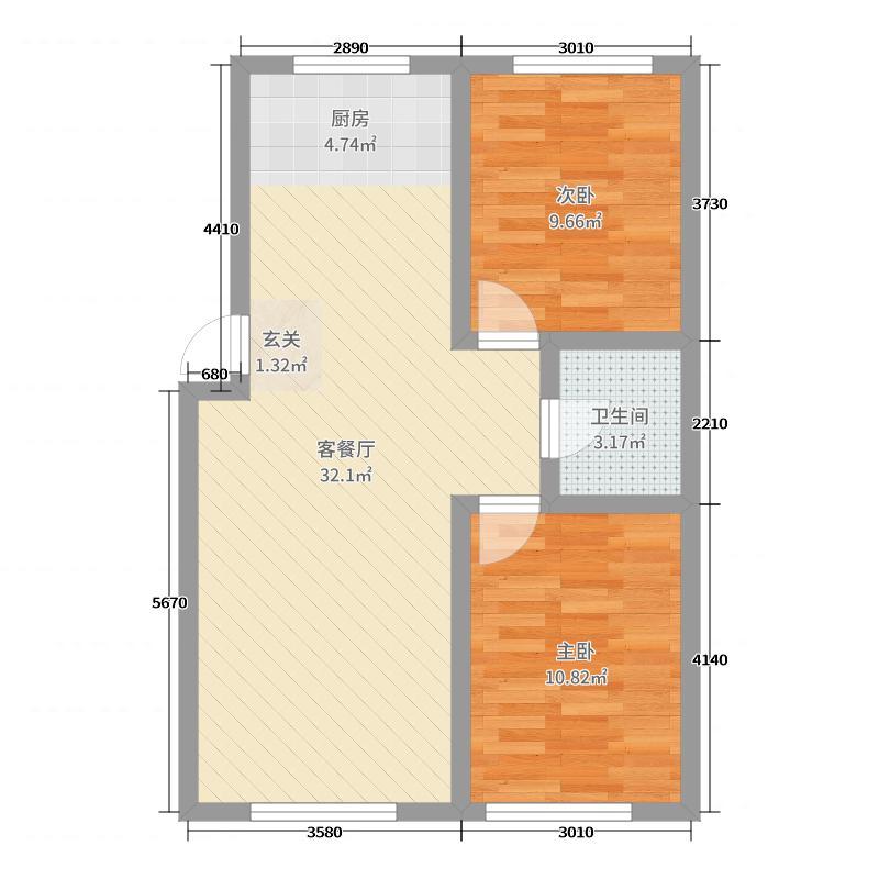 大林幸福家园76.34㎡高层17#25#户型2室2厅1卫1厨