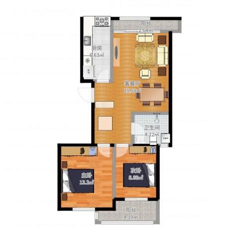 金桥澎湖山庄2室2厅1卫1厨81.00㎡户型图