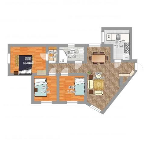 珠光花园3室1厅1卫1厨84.00㎡户型图