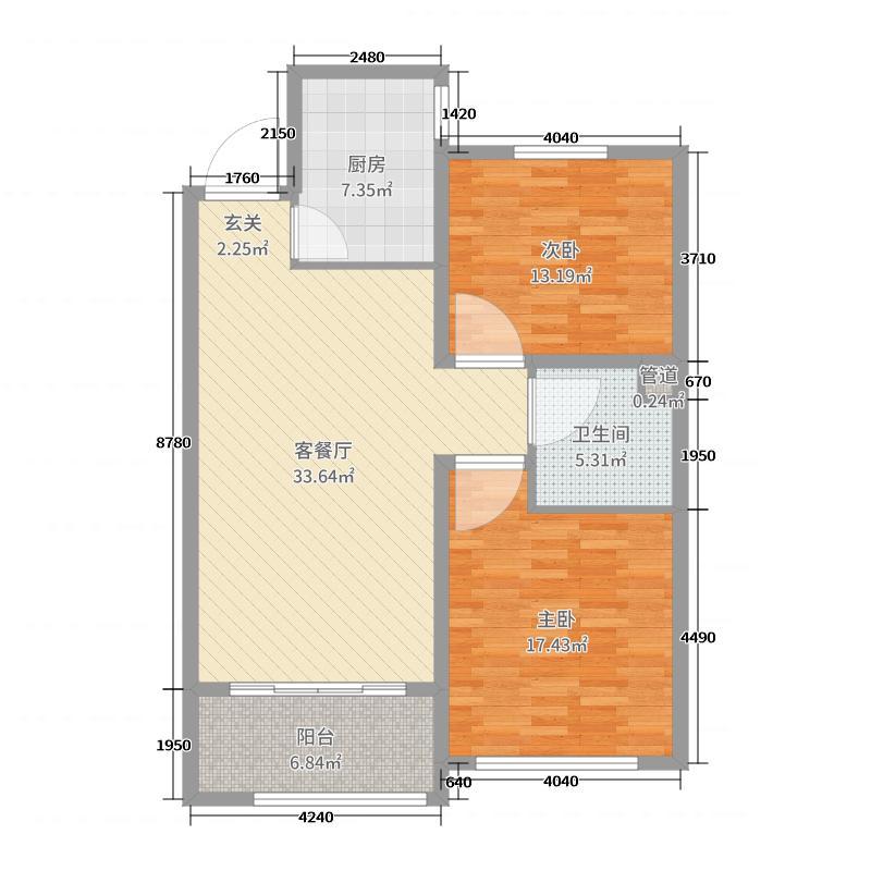 鲁商运河公馆84.50㎡高层a1户型2室2厅1卫1厨