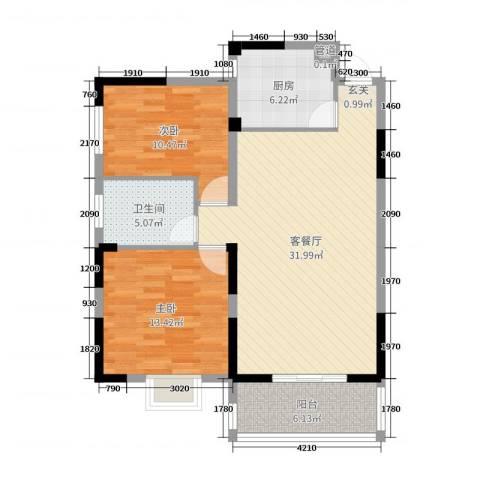 麓景裕园2室2厅1卫1厨90.00㎡户型图