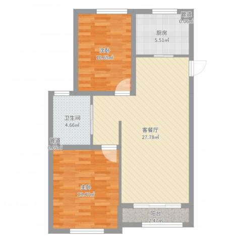 君豪・绿园2室2厅1卫1厨81.00㎡户型图