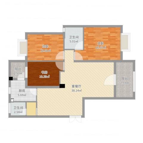 和美星城3室2厅2卫1厨128.00㎡户型图