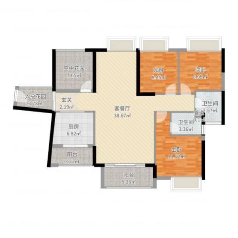 锦地繁花3室2厅2卫1厨128.00㎡户型图
