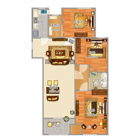 五兴苑3室2厅2卫2厨97.14㎡户型图